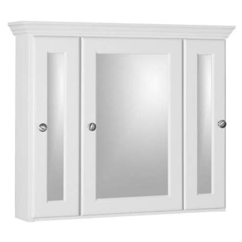 home depot white medicine cabinet bathroom 30 in tri view medicine cabinet in satin white