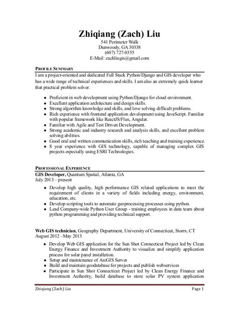 Python Developer Resume by Resume Python Developer Zachliu