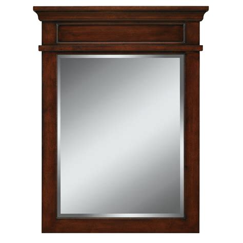 bathroom mirrors lowes shop allen roth hartley 34 in h x 26 in w mink