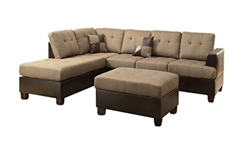 7 Person Sectional Sofa Poundex Bobkona Winden Blended Linen 3 Reversible Sectional Sofa With Ottoman