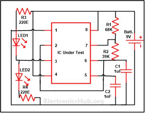 integrated circuit tester circuit diagram 555 timer ic testing circuit and its working