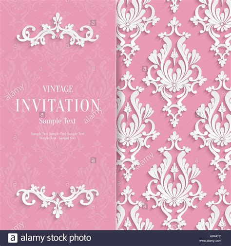 3d invitation card template vector pink floral 3d wedding invitation background