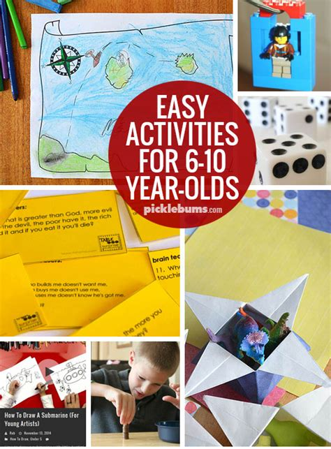 ten easy activities for 6 10 year olds picklebums