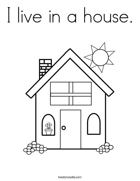 house pattern for kindergarten i live in a house coloring page twisty noodle