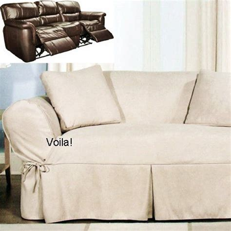 couch covers for reclining sofa reclining sofa slipcover ivory heavy suede adapted for