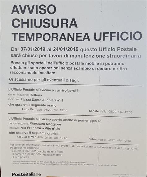 ufficio postale pignataro maggiore filale delle poste italiane chiusa per lavori ad arriva l