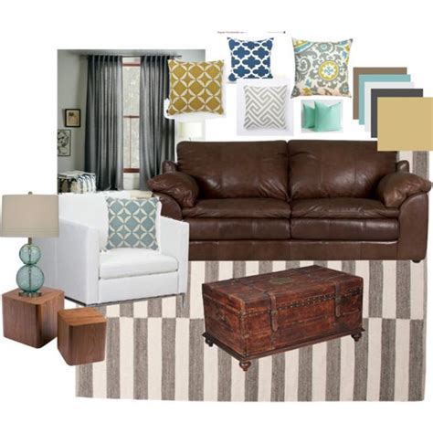 living room brown leather blues grays and yellows lounge inspiration living