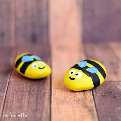 bee painted rocks easy peasy and fun