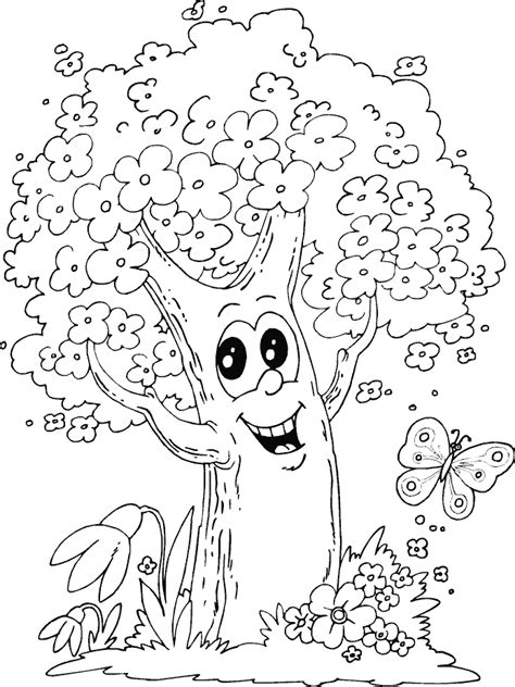 Spring Tree Colouring 12292 Disney Coloring Book Res Disney Tree Coloring Page