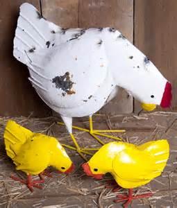 metal hen and chicks lawn ornament yard decor