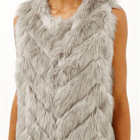 light grey faux fur vest river island light grey knit back faux fur gilet in gray