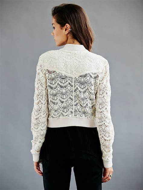 people womens lace bomber jacket  ivory white lyst