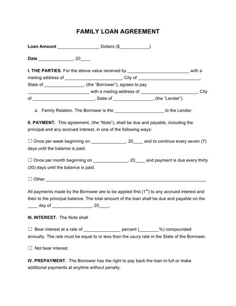 free family loan agreement template pdf word eforms