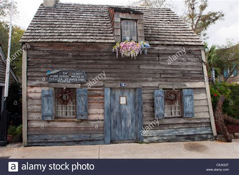 oldest house in america the oldest wood school house in the usa st george street st stock photo royalty