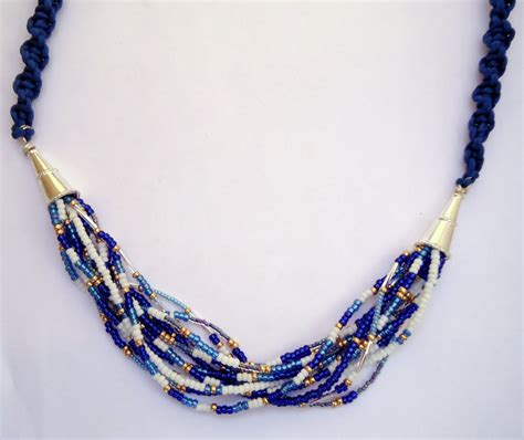 beaded macrame jewelry macrame and beaded necklace with blue silk cord and blue and