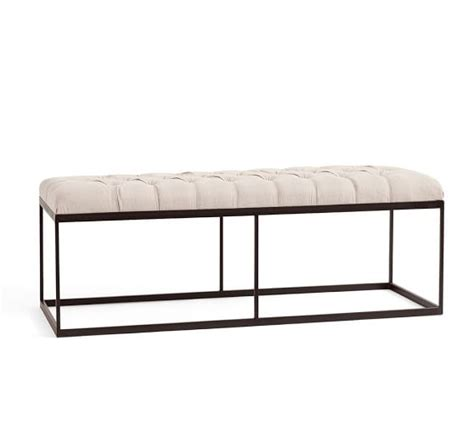 upholstered tufted bench albany tufted upholstered bench pottery barn