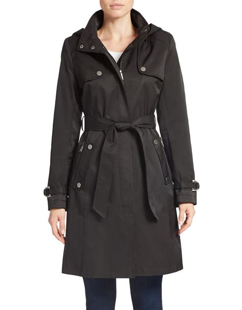 In Coat by Lyst Dkny Belted Trench Coat In Black
