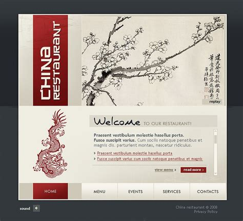 chinese restaurant flash template web design templates