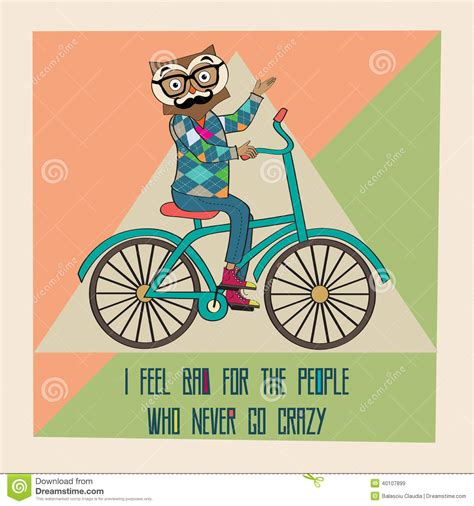 Cyling Vintage Humour Poster Free Stock Photo Public Domain Pictures Hipster Poster With Nerd Owl Riding Bike Stock Vector
