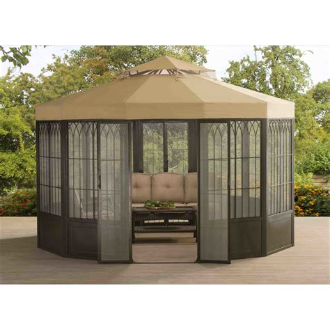 permanent gazebo sunjoy forks 12 ft w x 12 ft d metal permanent gazebo