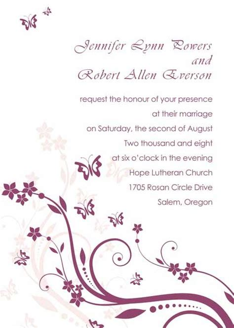 elegant purple butterfly wedding invitations with free