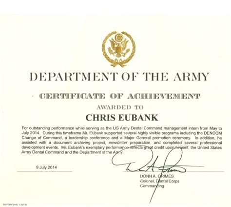 certificate of achievement template army us army certificate of achievement
