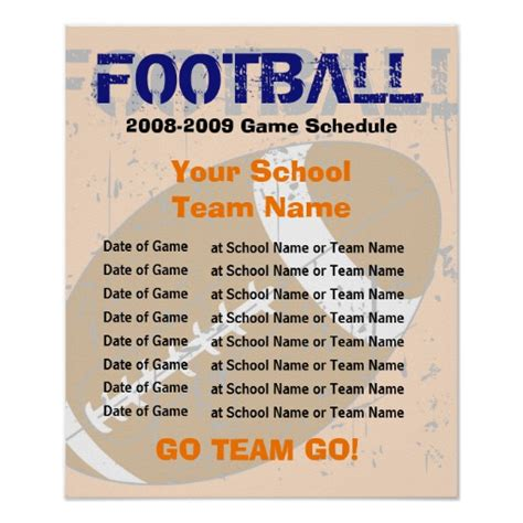 football schedule poster template zazzle