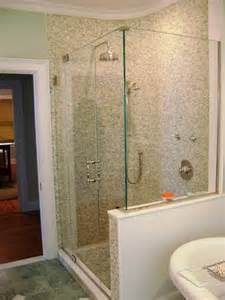 half wall and frameless shower door bathrooms