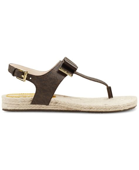 michael kors meg sandals michael kors michael meg flat sandals in brown lyst