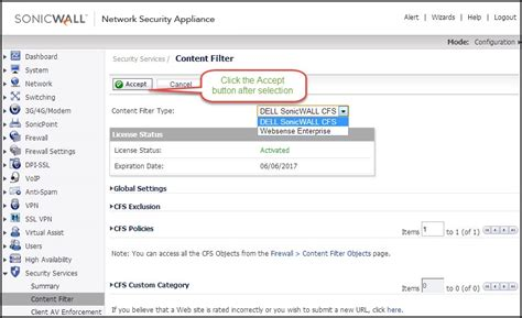 sonicwall content filterin service standard for sonicwall content filtering service cfs 4 0 overview sonicos 6 2