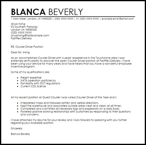 Courier Driver Cover Letter Sample   LiveCareer
