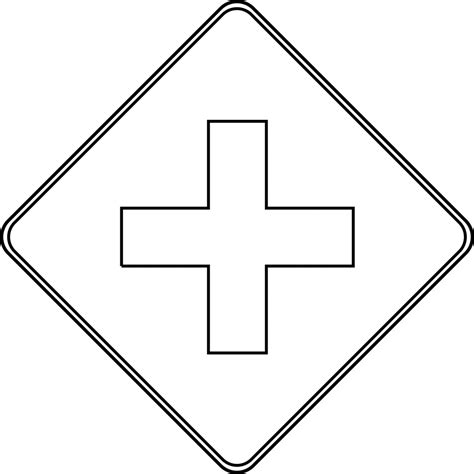 Road Sign Outlines by Cross Road Outline Clipart Etc