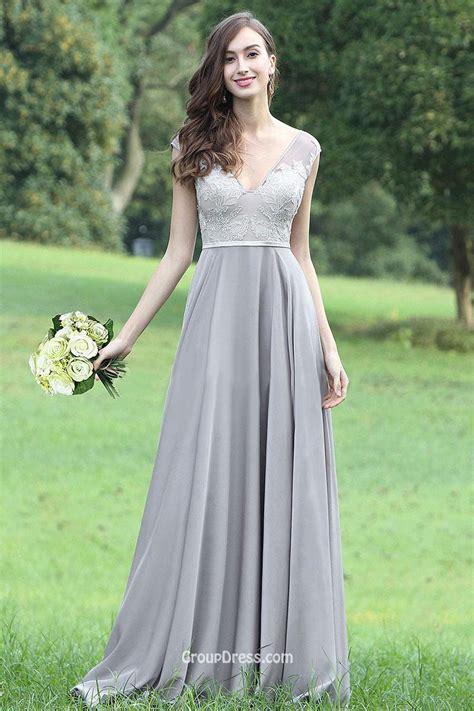 Longdresss Import 1 gray lace appliqued chiffon v neck cap sleeve a line