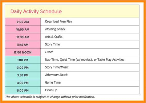 Child Care Daily Routine Template by Child Care Daily Routine Template Fidelitypoint Org