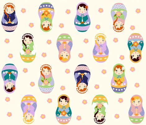 russian doll design wallpapers russian matryoshka dolls with flowers and candles fabric