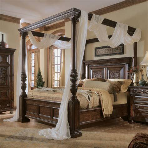 canopy beds gray painted bedroom wall interior with brown glaze wooden