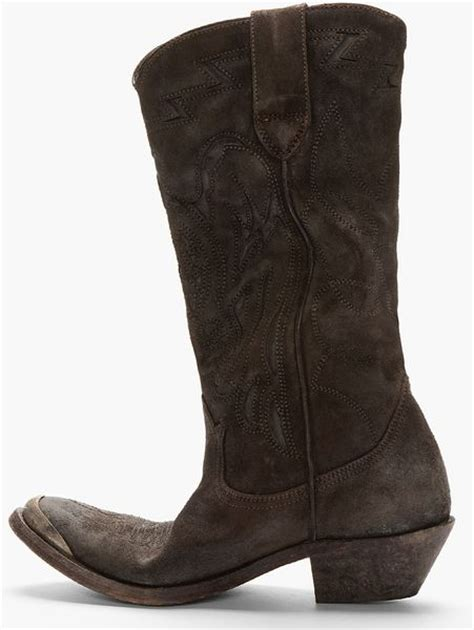 Golden Goose Cowboy Boots by Golden Goose Deluxe Brand Brown Suede Embroidered