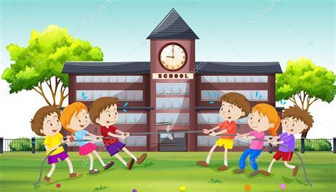 clipart bambini che giocano bambini che giocano conflitto a scuola vettoriali stock