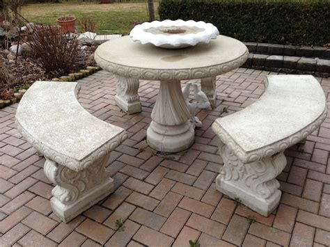 concrete table and bench set stone patio set in concrete modern patio outdoor