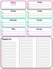 weekly food menu template weekly meal menu and grocery list planner template sle