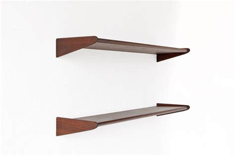 pair of modern walnut floating shelves at 1stdibs