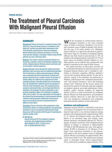 the treatment of pleural carcinosis with malignant pleural
