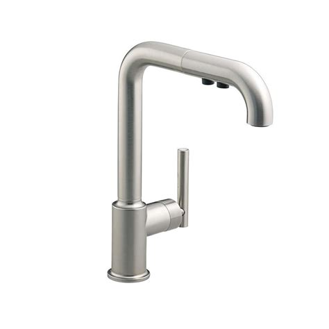 pull faucet kohler purist single handle pull out sprayer kitchen faucet in vibrant stainless k 7505 vs the