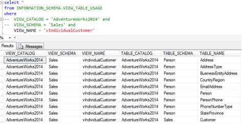 sql server list tables find sql server views where a table is used and list