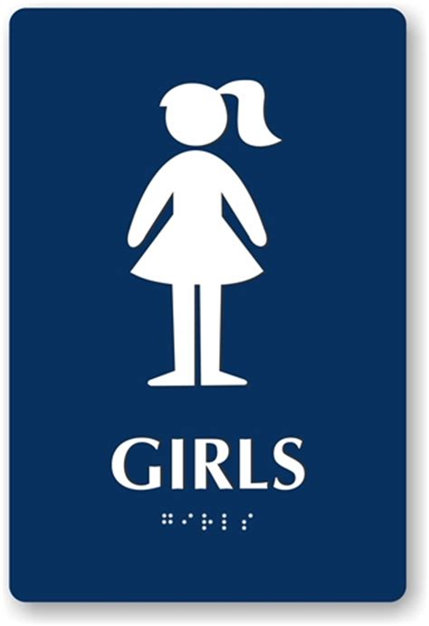 bathroom girl sign ada braille girl s restroom sign