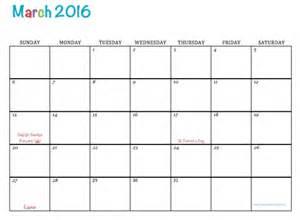 Calendar Printable 2016 March Free Printable Calendar March 2016