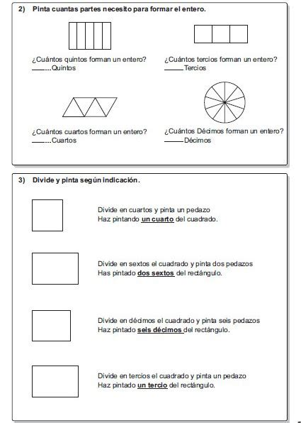 ejercicios de fracciones de cuarto de primaria actividades de fracciones para cuarto y quinto grado de