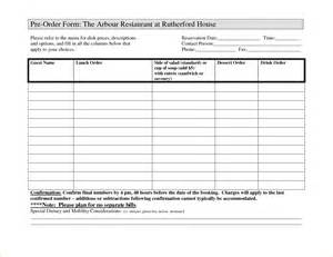 Food Pre Order Form Template by 7 Food Order Form Template Timeline Template