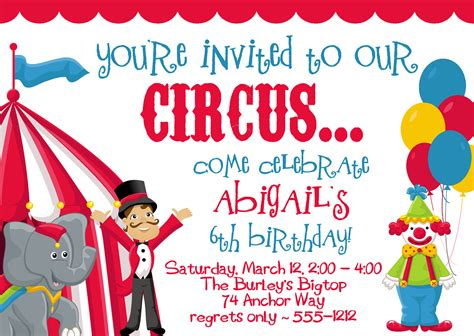 circus carnival birthday party invitations by