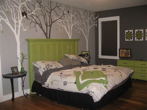 bedroom headboard ideas delectable gray bedroom by artwork trees wall paint decor plus pleasing green headboard design